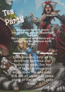 A wonderful poster for the Sussex Cancer Centre Alice in Wonderland Tea Party
